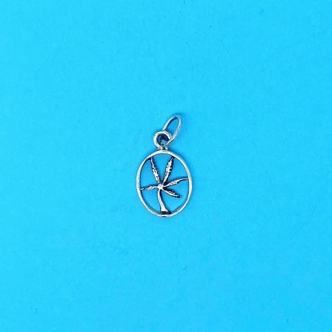 Genuine 925 Sterling Silver Marijuana Cannabis Leaf In Oval Pendant